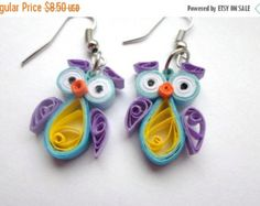 ON SALE Quilled Earrings, Owls,  funny, quilling jewelry, gifts for her, Eco-friendly