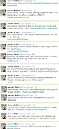 Click through for the rest of Jensen's live tweets - the man was a chatterbox last night! :D <3 (10x05)