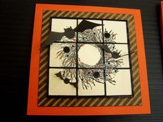 Halloween card with twiggy wreath and bats...cut into nine sections and adhered on layers of black, brown and orange...lovely card...
