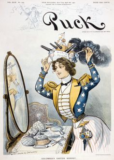 "Columbia, personification of the United States, wearing a warship bearing the words ""World Power"" as her ""Easter bonnet"" on the cover of Puck, April"
