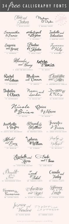34 FREE calligraphic script fonts for hand-lettered, flowing wedding stationery!