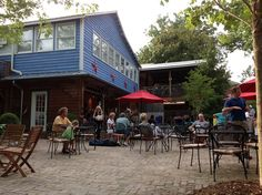 Outdoor seating at Hubba Hubba Smokehouse in Flat Rock, NC