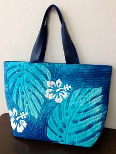 Blue monstera tote