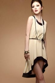 Women's Belt Pleated Chiffon Striped Dress - BuyTrends.com
