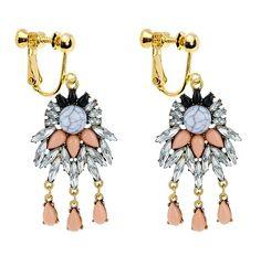 Bohemia Tassels Dangle Clip on Earrings Screw on backs Triangular Girls Thread No piercing Drop Red