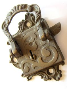 Ornate 19th Century Brass Ice Box Latch