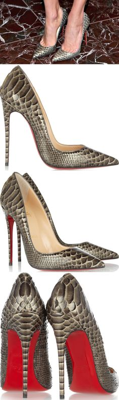 "Karlie finished off her look with a pair of ""So Kate"" python pumps from Christian Louboutin"