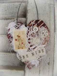 Handmade Valentine Vintage Valentine Ornament  by QueenBe on Etsy, $12.50