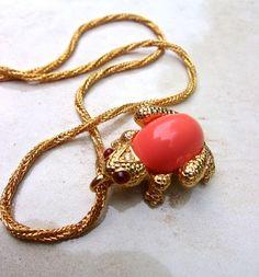 Coral Frog JOSEPH MAZER Pendant Necklace by RenaissanceFair