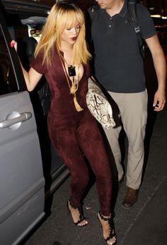 Rihanna: shorter, sleeker hair, blunt fringe and racy maroon ...