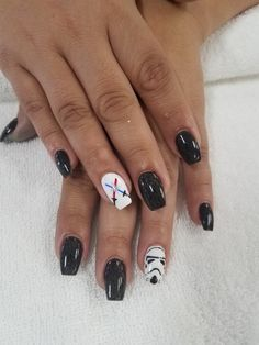 Star wars nail art. Storm trooper  and lightsabers!
