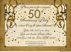 50th anniversary invitation golden invite 50th anniversary festive 50th anniversary party invitation gold streamer stopboris Choice Image