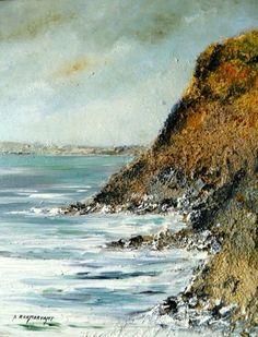 rocher dans le golfe - Peinture,  33x41 cm ©2014 par André Kermorvant -                            Peinture contemporaine, Marine, golfe du Morbihan, rochers, paysage breton