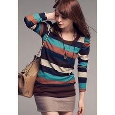 Casual Scoop Neck Long Sleeves Colorful Stripes Fitted Cotton Blend Women's T-Shirt, BLUE, ONE SIZE in Tees & T-Shirts | DressLily.com