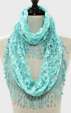 Arden Infinity Scarf in Mint Lace