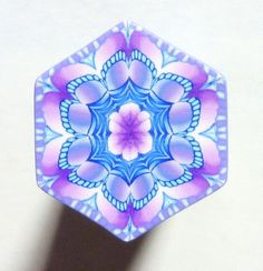 Shades of Purple and Blue and White Hexagon Polymer door ClaybyKerm
