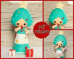 PDF. Christmas tree doll. Xmas ornament. Plush Doll by Noialand, $7.00