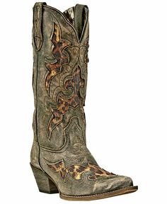 Say it isn't so...Distressed leather with a touch of leopard?!?!  OMG!  - Laredo Leopard Print Leather Inlay Cowgirl Boots - Snip Toe