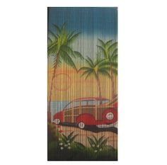 Woodie is a 90 x beaded door curtain featuring a retro inspired design of a vintage car parked on the beach, surrounded by palm trees.