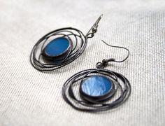 Blue galaxy earrings Stained glass metal jewelry by ArtKvarta, $26.00
