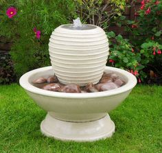 Small Beehive pot water feature in Chalice bowl Diy Garden Fountains, Stone Fountains, Garden Pots, Garden Ideas, Stone Bath, Honey Colour, Beehive, Green Stone, Water Features