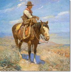 Frank Tenney Johnson - American Cowboy Artist Painting - Reproduction Print - Frank Tenney Johnson - Cowboy on Horseback - 14x14 Inches - Original Image Size Poster
