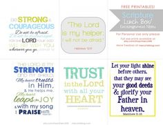 Lunch box notes with Verses and Scriptures for Back to School. Also have blank note cards. Free printable.