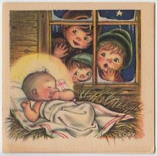 Vintage Greeting Card Christmas Ars Sacra LORY Children Baby Jesus Nativity e320