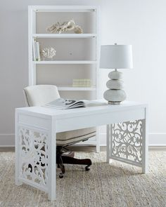 white airy home office. Mason Wood Top Desk, White #williamssonoma 62\ Airy Home Office U