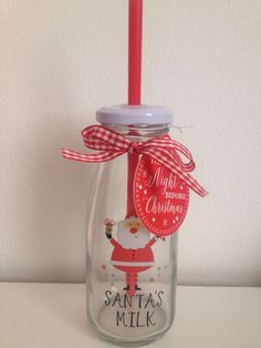 Christmas Santa Milk Bottle & Straw Great For Christmas Eve Box