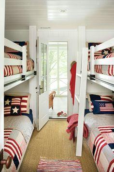 Girls Bedroom, Home Bedroom, Lake House Bedrooms, Bedroom Ideas, Bedroom Photos, Bedroom Green, Master Bedroom, Bunk Rooms, Bunk Beds