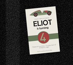 Green Vintage Race Car Birthday Party Invitation