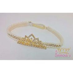 Tiara/faixa De Pérolas E Strass Com Coroa Dourado  Princesas - R$ 69,90