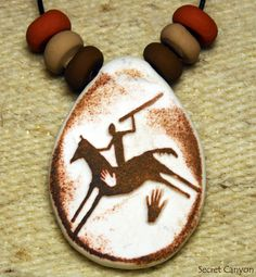 Primitive Hunter on Horse  Handmade Clay Pendant  by SecretCanyon, $9.95