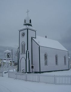 White on White, Wooden Catholic church in Trinity,Newfoundland