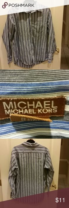 Michael Kors men's shirt Michael Kors classic gray and blue striped men's shirt MICHAEL Michael Kors Shirts Dress Shirts