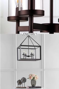 "A classic hanging lantern pendant is made modern by the geometric angles of the caging on this decorative piece. Perfect for a foyer or vaulted ceiling, you can adjust the drop according to your desired height -- from a minimum of 28"" to a maximum of 100"" inches. And if regularly getting on a ladder to change bulbs isn't your thing -- this fixture is compliant with LED bulbs which can go years between replacements. Name Wall Decor, Apartment Bedroom Decor, Apartment Living, Minimalist Home Interior, Interior Modern, Table Decor Living Room, Lantern Pendant, Pendant Lighting, Ceiling Light Design"