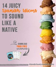 14 juicy Spanish idioms to sound like a native [ free cheatsheet] It's all about spending time listening to native speakers, to observe what they do (and don't do) to be able to improve your conversational Spanish. Print today's freebie and start learning Spanish idiomas in a fun way. It's better to do something small each day to improve Spanish sepaking, than studying like crazy the whole day once each few weeks ;) Repin this post for later!