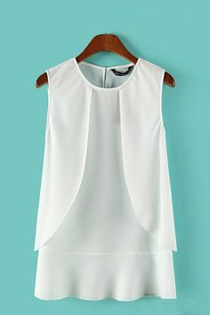 With black leggings. Biddy Craft/White Falbala Hem O-neck Chiffon Vest