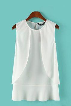 White Falbala Hem O-neck Chiffon Vest