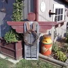 An old shutter becomes garden art....