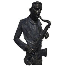 Saxophone Player Statue Sculpture in Patina Black Finish by Urban Port, Multicolor John Stezaker, Houston Houses, Saxophone Players, Resin Sculpture, Tree Designs, Decorative Accessories, It Is Finished, Urban, Statue