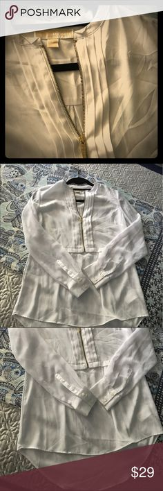 Sheer Michael Kors Top Sheer white Michael Kors top with gold front zipper MICHAEL Michael Kors Tops Blouses