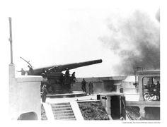 Gun No. 2 firing at Battery Spencer, Fort Baker, date unknown.