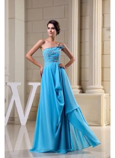 Trendy Design Floor Length Chiffon A Line Blue Prom Dress 2013 £117.99