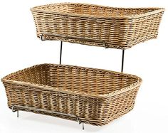 Set Of Two Racks For Counters With 2 Plastic Wicker Baskets Each Farmer S Market Online Farmers Supply