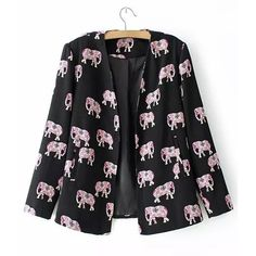 13.58$  Buy here - http://divhy.justgood.pw/go.php?t=125792101 - Stylish Elephant Print Collarless Long Sleeve Blazer For Women