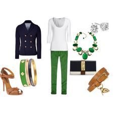 Kelly Green Pants and Blazer, created by sarah-ceci-jones on Polyvore