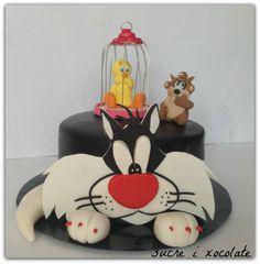 Tarta gato Silvestre,Piolin y Taz