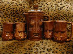 Westwood pitcher & mugs set. I have a couple Westwood mugs, but nothing matching & I've never seen a pitcher. Tiki Hawaii, Hawaiian Tiki, Tiki Tiki, Tiki Hut, Tiki Decor, Tiki Lounge, Kitchen Goods, Vintage Tiki, Tiki Party